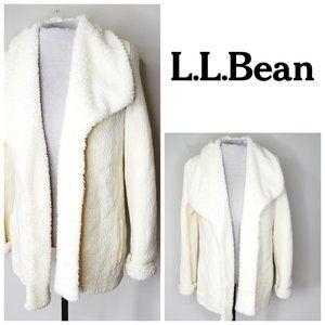 L.L. BEAN Cotton Sherling Cream Cardigan Coat
